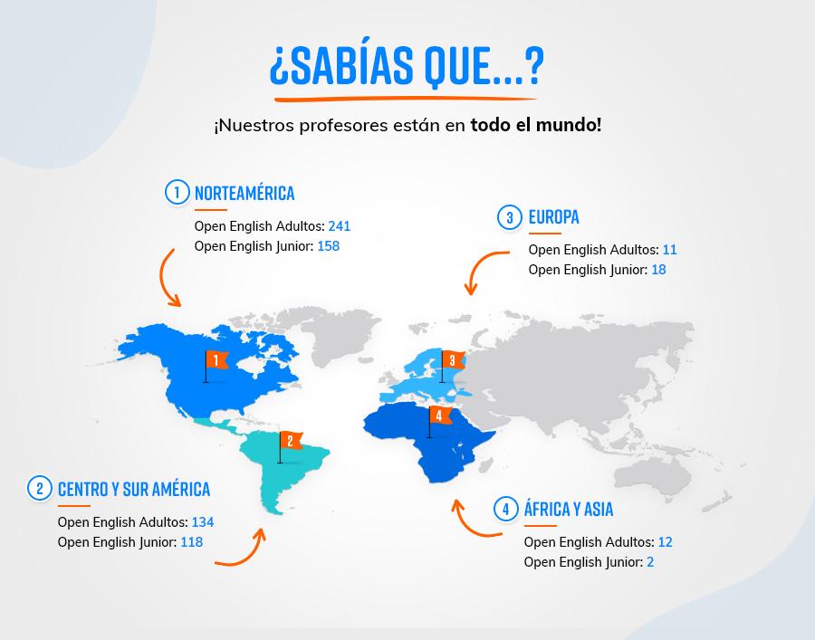 Mapa con ubicacion de profesores de open english en el mundo