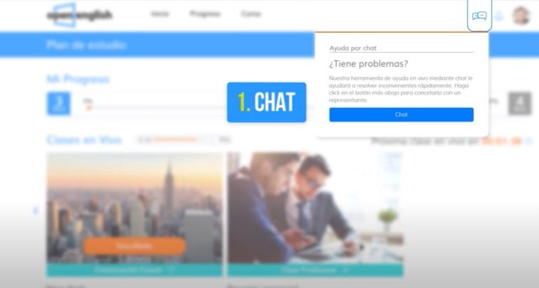 Open English plataforma ayuda por chat