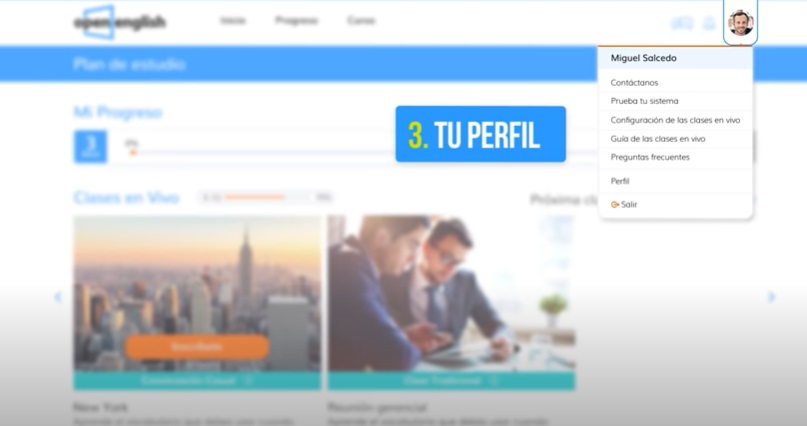 Open English plataforma perfil de usuario