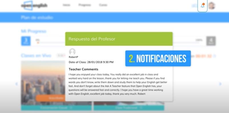 Open English plataforma notificaciones