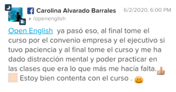 Opinión de Carolina Alvarado Barrales sobre Open English