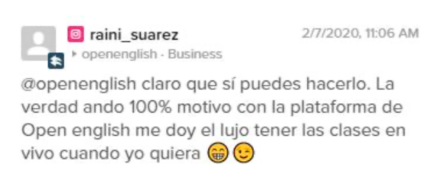 Opinión de Raini Suarez sobre Open English