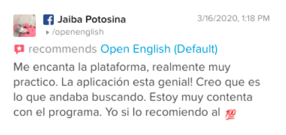 Opinión de Jaiba Potosina sobre Open English