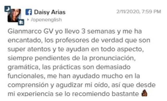 Opinión de Daisy Arias sobre Open English