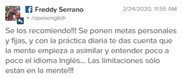 Opinión de Freddy Serrano sobre Open English