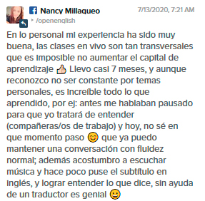 Opinión de Nancy Millaqueo sobre Open English
