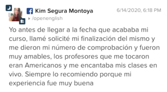 Opinión de Kim Montoya sobre Open English